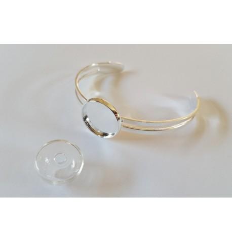 Bracelet support pour cabochon ou globe en verre
