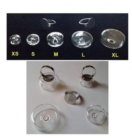 Bague cylindrique en verre à remplir