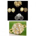 Fermoir boule métal aimantée à strass pour bijoux