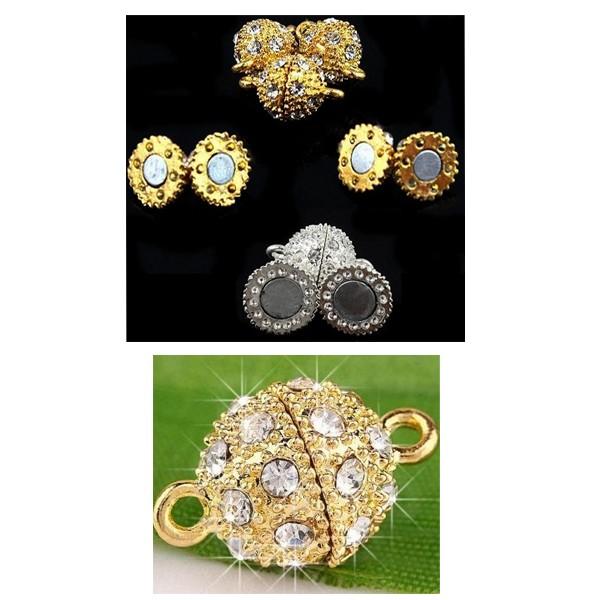 Fermoir Aimanté pour Bijoux en Forme de Boule avec Strass