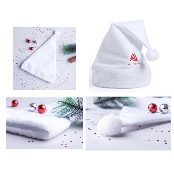 """Bonnet Père Noël blanc et moumoute """"Cestilox"""""""