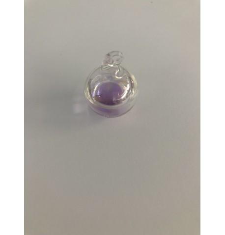 Pendentif boule en verre et sa perle d'eau colorée
