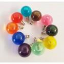 Pendentif globe en verre rempli d'eau colorée