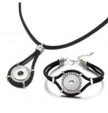Parure collier et bracelet cuir à boutons pression et strass