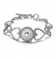 Bracelet bouton pression coeur