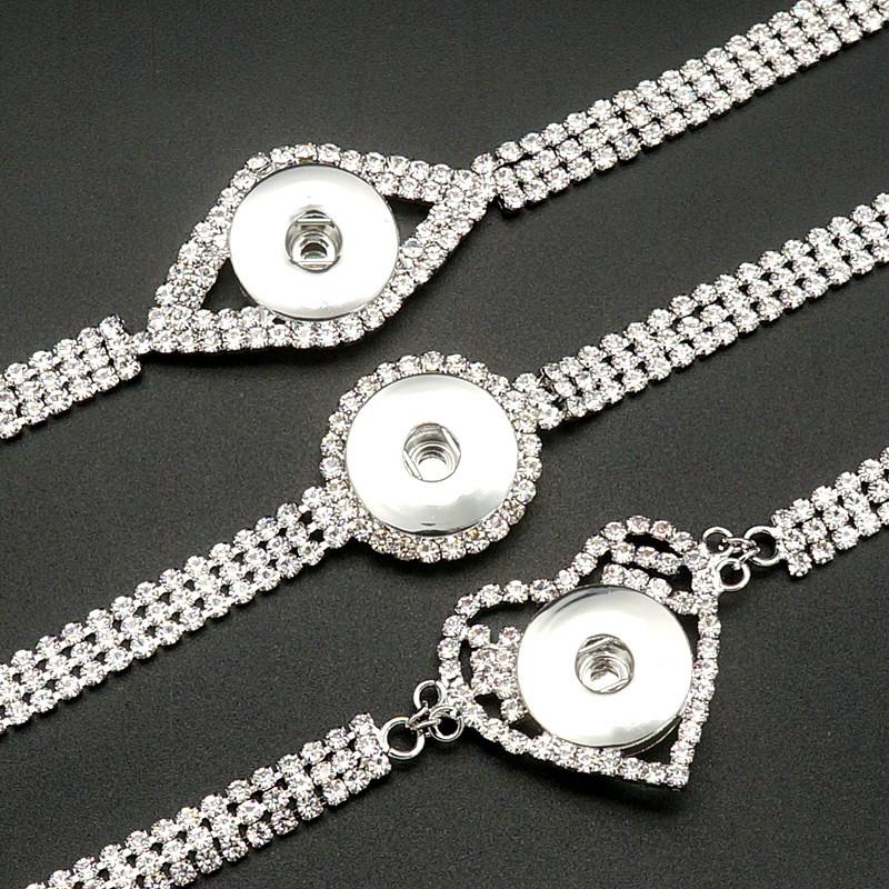 Bracelet bouton pression strass