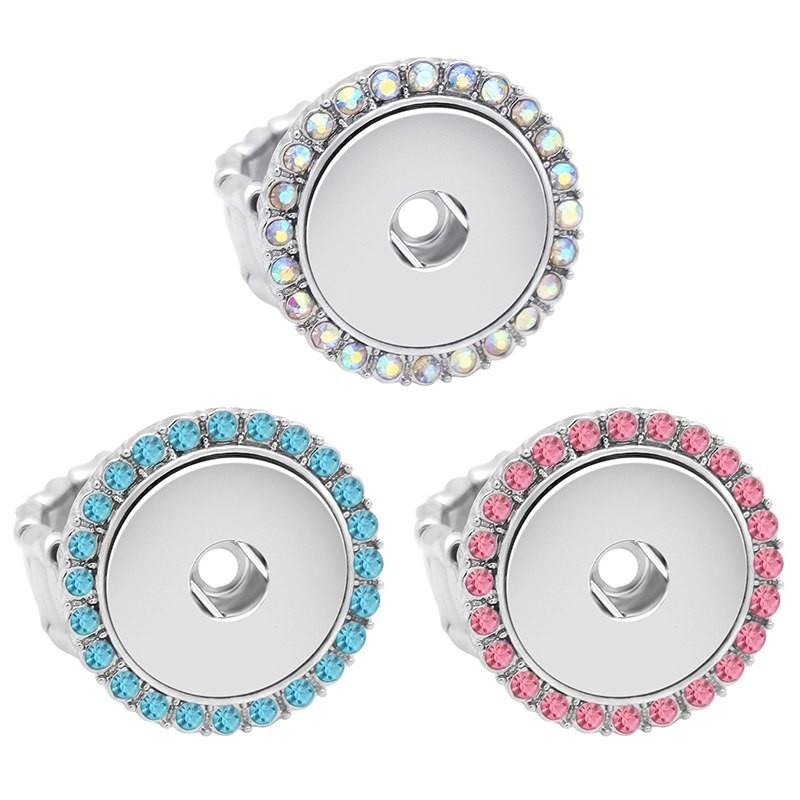 Bague strass colorés bouton pression avec anneau flexible