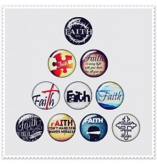 Lot de 10 boutons pression message 'Faith' espoir 18mm.