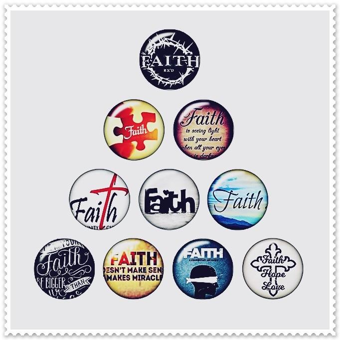 Lot de 10 boutons pression message 'Faith' espoir 18mm.