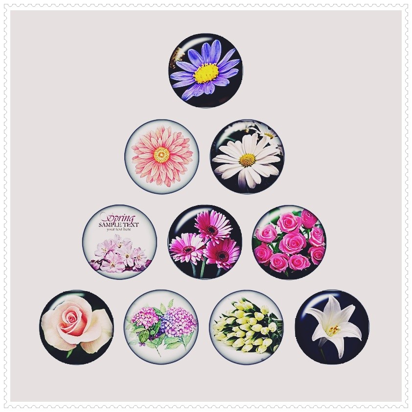 Lot de 10 boutons pression fleurs 18mm