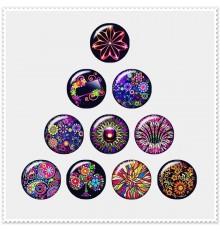 Lot de 10 boutons pression fleurs graphiques multicolores18mm