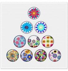 Lot de 10 boutons pression motif floral 18mm