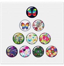 Lot de 10 boutons pression fleurs et papillons 18mm