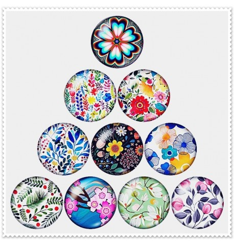 Lot de 10 boutons pression thème 'floral' 18mm