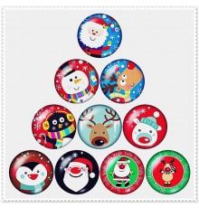 Lot de 10 boutons pression thème Noël 18mm