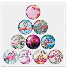 Lot de 10 boutons pression flamant rose 18mm