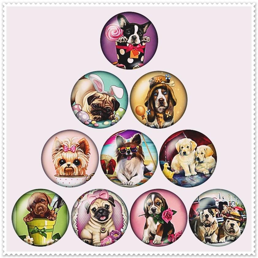 Lot de 10 boutons pression motifs 'petits chiens' 18mm