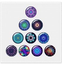 Lot de 10 boutons pression motifs rosaces colorées 18mm.