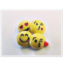 Lot de 4 boutons pression smiley emoticone 18mm
