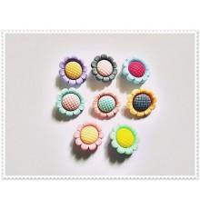 Lot de 8 boutons pression fleurs petites pétales 18mm