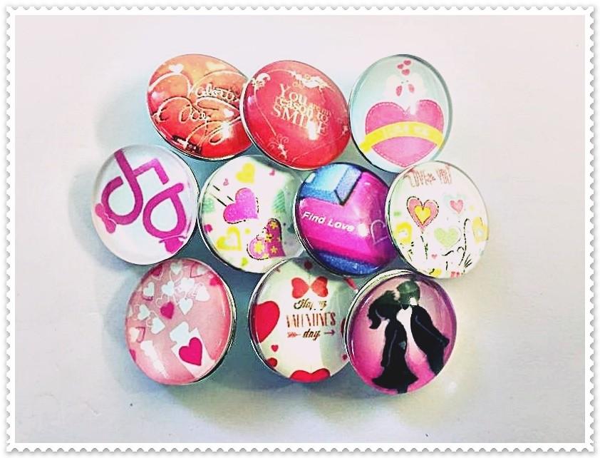Lot de 10 boutons pression amour 18mm