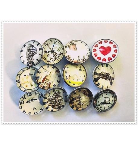 Lot de 12 boutons pression horloge 18mm
