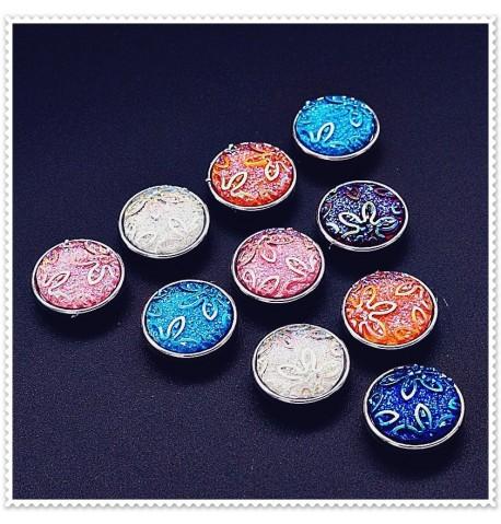 Lot de 10 boutons pression fleurs givrées 18mm