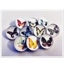 Lot de 10 boutons pression papillons 18mm