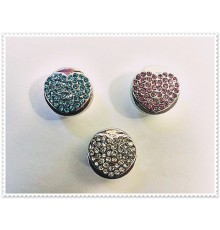 boutons pression coeur métal strass 18mm