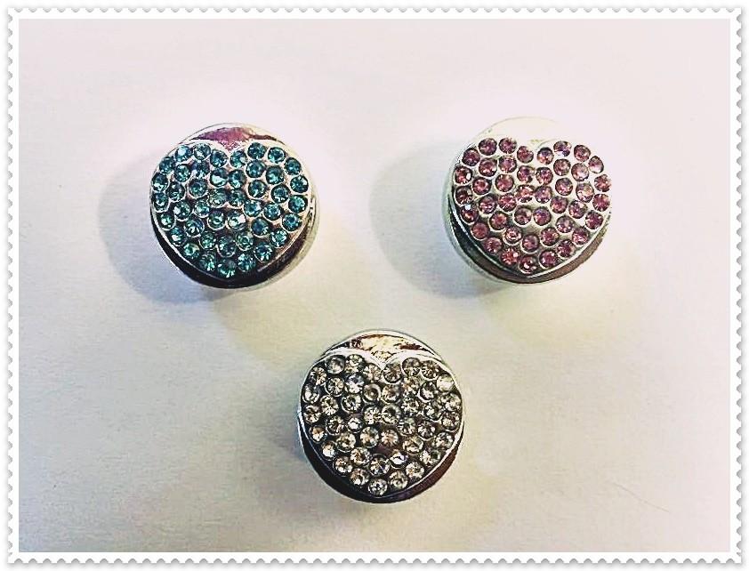Lot de 6 boutons pression coeur métal strass 18mm