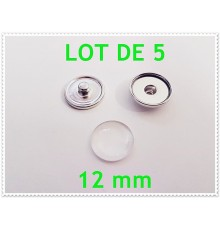 Lot de 5 boutons pression et cabochons 12mm