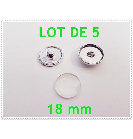 Lot de 5 boutons pression et cabochons 18mm