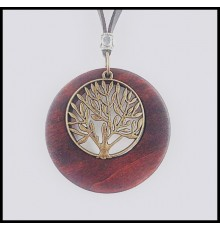 Collier pendentif en bois Arbre de Vie.