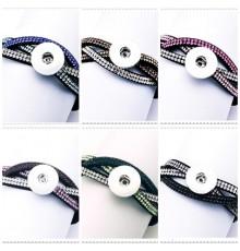 Bracelet bouton pression 3 bandes velours et strass colorés