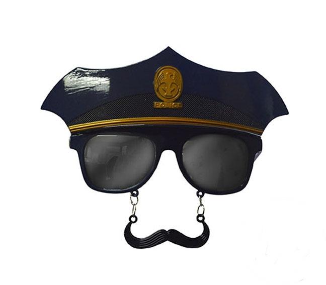 Lunettes de policier avec casquette et moustache