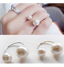 Bague ouverte double perles