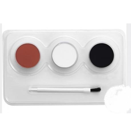 Peinture à l'eau 3 couleurs ROUGE/NOIR/BLANC & pinceau