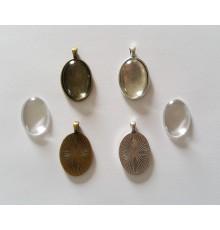 Pendentif ovale en métal + cabochon offert