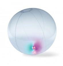 Ballon de plage gonflable de couleur bleue et transparente