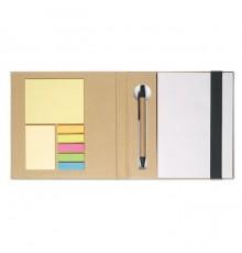 Set de papeterie avec une bande élastique colorée et stylo assorti