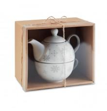 Service de thé composé d'une théière et d'une tasse de thé