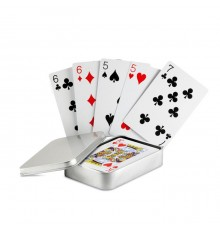 Cartes à jouer dans une boite en fer blanc