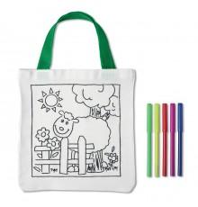 Sac pour enfant personnalisable à colorier avec 5 feutres