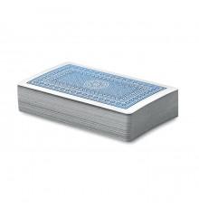 Carte à jouer de couleur bleu et rouge dans un étui personnalisable