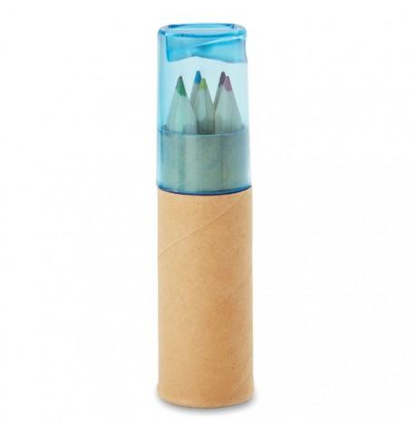 6 crayons de couleur en tube et taille-crayon avec couvercle transparent