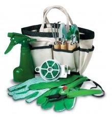 Lot de jardin complet: Herse, 2 piques, gants, arrosoir, fil et ciseaux avec sac