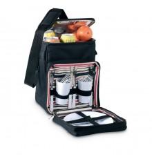 Glacière noire avec 2 tasses, 2 assiettes, 2 couteaux, 2 fourchettes et 2 serviettes
