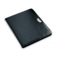 Porte-documents noir en PU A4 avec plaque de logo en métal.