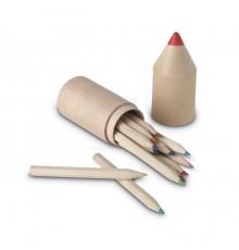 Lot de 12 crayons en bois dans une boite en forme de crayon