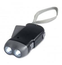 Torche dynamo ABS 2 LED  avec 3 piles AG10 incluses